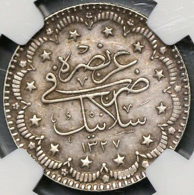 1911 NGC MS 61 Salonika Mint Visit Turkey 5 Kurush Rare 3K POP 1/3 (18111601C)