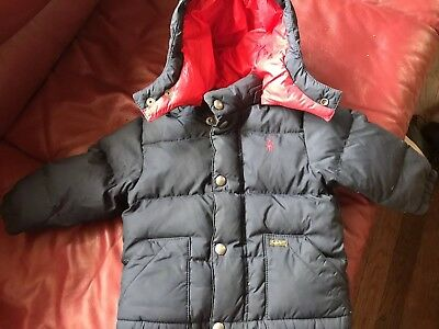 Baby Boys Ralph Lauren Polo Size 18 Months Blue Red Jacket Coat Winter