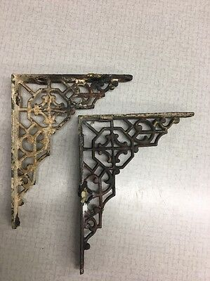 pair small Vintage Industrial Antique ornate cast Iron Wall Bracket Arm Farm