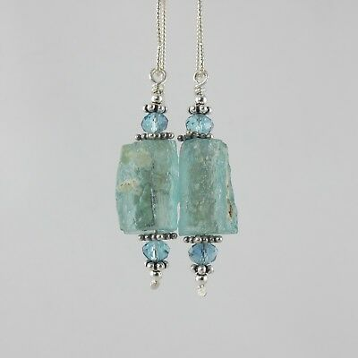 gorgeous blue green ancient Roman glass sterling silver crystal earrings