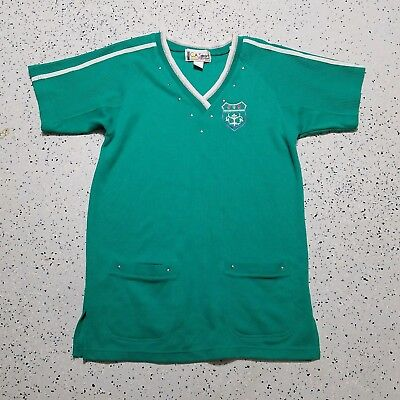 C.A. Sport Women's Long Shirt ~ Sz S ~ Green ~ Short Sleeve ~ Cotton Blend