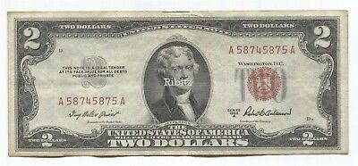 US Legal Tender $2 Dollars Note - 1953-A - Red Seal - A58745875A