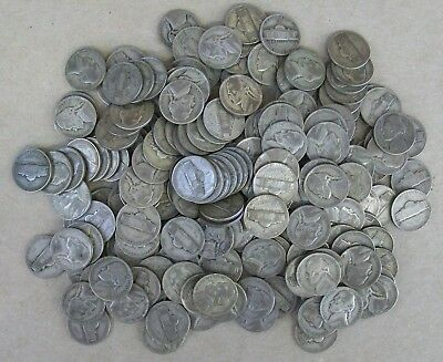 1942-1945 Silver War Nickels Roll Of 40 Mixed Dates In Vg-Vf