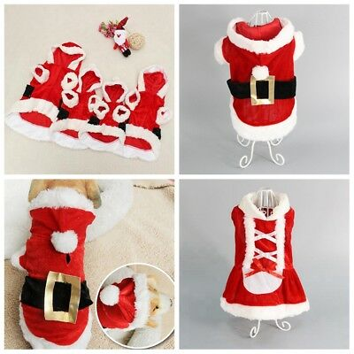 Pet Puppy Dog Christmas Soft Clothes Santa Claus Costume Outwear Coat Outfit New