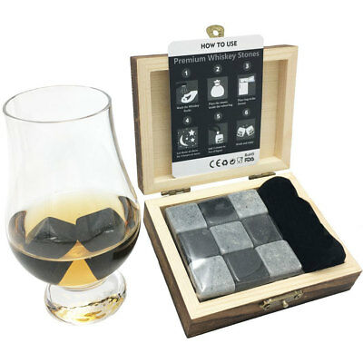 Whiskey Stones with Velvet Pouch and Wooden Box / Whisky Chilling Rocks Cool