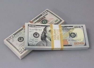 High Quality 1 1 Dollar Prop Money Total $2000Full Print Stack for Movie