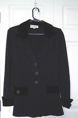 Womens ST. JOHN COLLECTION Santana Knit Black Jacket with Velvet 8