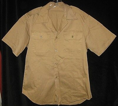 VINTAGE WWII S/S SHIRT TAN ENLISTED 1945 TAN US Army WW2 WORK ENGINEERS Uniform
