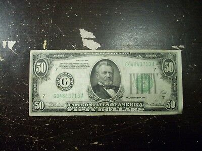 1934 Fifty $50 Dollar Bill Note US Currency Chicago