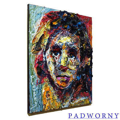 Signed Abstract Modern█Original█Oil█Painting█Outsider█Impressionist Art Portrait