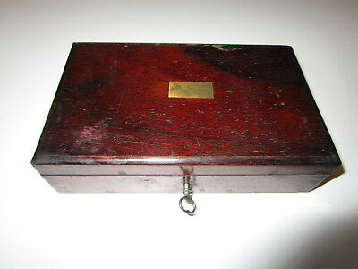 Antique Victorian Portable Writing Desk Mid 1800S  With Key  7 1/4 X 4 1/4 X 2