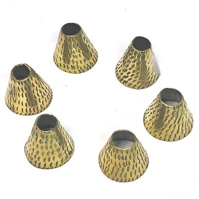 Cone Brass Spacer Beads 6 pcs Hammered Nepalese Handmade Nepal  AU10D