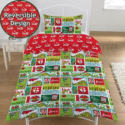 The Grinch 12 Days Of Christmas Single Duvet Cover And Pillowcase Set New