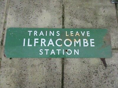 Genuine Very Old Green Enamel Ilfracombe Railway Station Sign