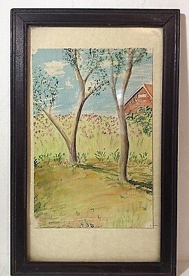 Vintage framed original watercolor nature scene art 1960s rustic