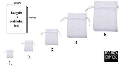 * WHITE * Organza Gift Bags Jewellery Pouches Xmas Wedding Favours Party Candy
