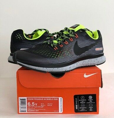 a2422c3a4e65 NIKE ZOOM PEGASUS 34 GS Shield Youth 6Y 6.5Y Running Shoes BLK Volt Grey  922850