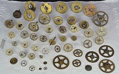 70x Old Clock Parts Bits Pieces Pendulum Antique Vintage Cogs Gears Wheels Hands