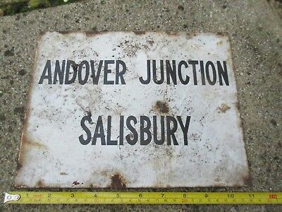 Genuine Very Old White Enamel  Railway Station Sign