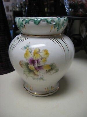 Antique China Decorative Vase Bright Floral Colors with Gold Detailing