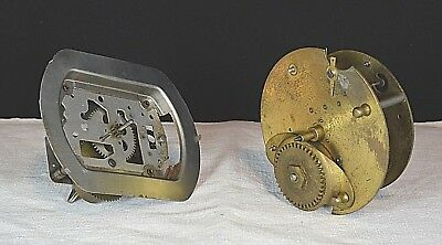 2x Old Clock Movements Smiths Parts Pieces Antique Vintage Spares Repair
