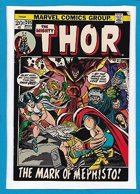 "Mighty Thor #205_November 1972_Very Good_""the Mark Of Mephisto""_Bronze Age!"