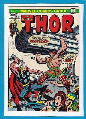 "Mighty Thor #221_March 1974_Very Fine_""hercules Enraged""_Bronze Age Marvel!"