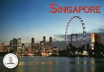 The Marina Bay Skyline & Singapore Flyer, Ferris Wheel, Asia, SG Postcard