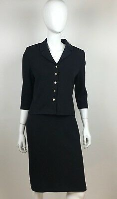 St. John Collection Black Knit Shift Dress & Jacket Gold Link Detail Size 4