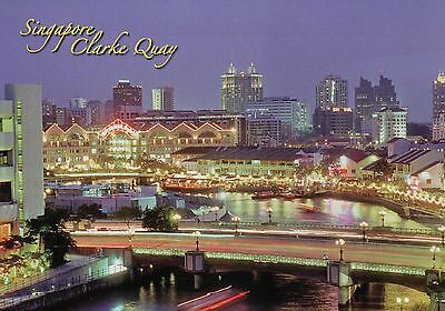 Night View of Clarke Quay Singapore Pubs Restaurants Karaoke Bars etc - Postcard