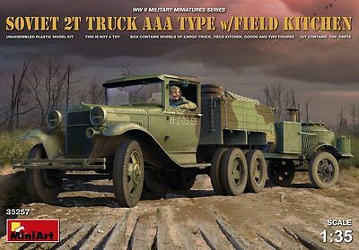 MINIART 35257 Soviet 2t Truck AAA Type w/Field Kitchen & 2 Figures in 1:35