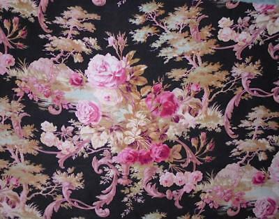NEW STOCK LOVELY 19th CENTURY FRENCH NAPOLEON III LINEN COTTON, ROSES  c1870 48.