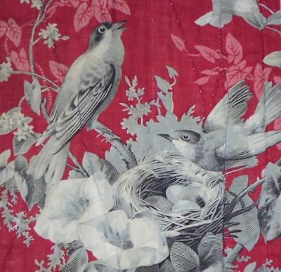 NEW STOCK, BEAUTIFUL MID 19th CENTURY FRENCH QUILTED TOILE DE JOY, BIRDS 49.