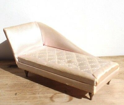 VTG IDEAL SATIN UPHOLSTERED Chaise LOUNGE CHAIR SOFA PINK ...