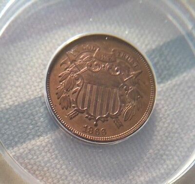 Lovely 1866 Civil War Era Two Cent Piece ANACS GRADED Almost Uncirculated
