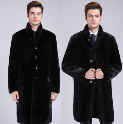 Mens luxury Mink Fur Long trench parka coat Lapel Collar Jacket Business outwear