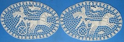 Vintage 2 Needle Lace Horse & Charioteer Placemats or Doilies