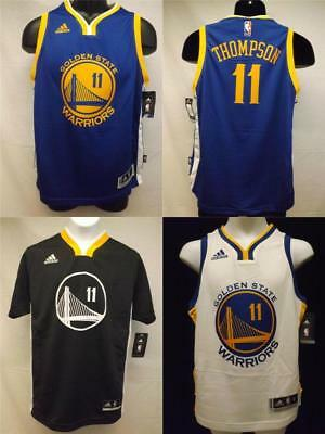 watch 0909c d2182 NEW KLAY THOMPSON #11 Warriors YOUTH S-M-L-XL Replica or Swingman Adidas  Jersey