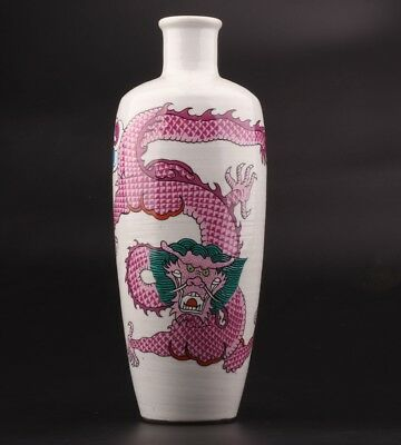 Vintage Chinese Porcelain Vases Decorative Paintings Sacred Dragon Artifacts