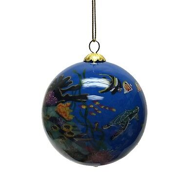 Sea Life Animals Reverse Painted Glass Christmas Tree Ornament Coral Reef Turtle