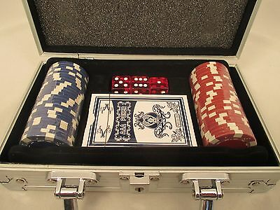 New Poker Chip Card and Dice Game Set with Metal Suitcase Carrier
