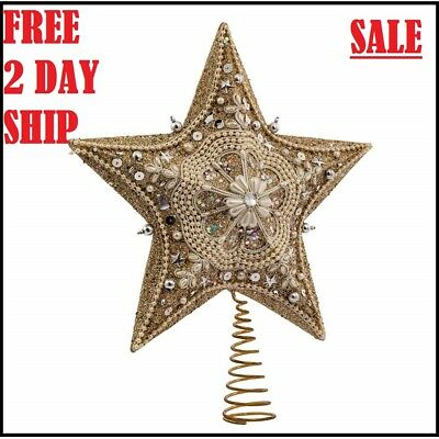 Glitter Glass Star Christmas Tree Topper Ornaments Xmas Patry Decoration 13.inch