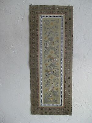 Fine Old Chinese Hand Embroidered Silk Panel Textile Gold Thread Foo Dog Birds