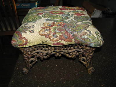 Antique Filigree Cast Iron With Flowers Tapestry Cover Foot Stool Ottoman 15 X 8