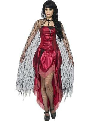 Ladies witches Cape Halloween Fancy Dress Long Black Gothic Lace