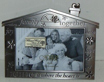 Picture/Photo Frame House Shaped 'Home is Where the Heart Is' NEW Metal