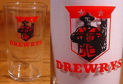 """DREWRYS - MOUNTIE - 4 5/16"""" Beer Bar Glass - SOUTH BEND, INDIANA"""