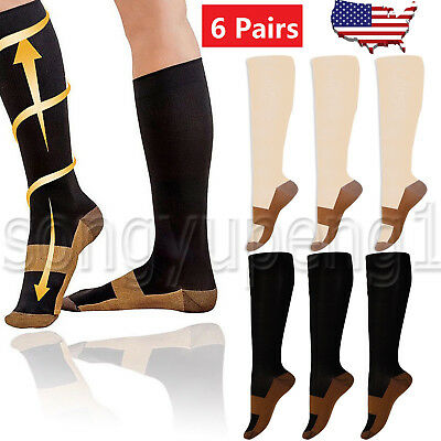 6 Pairs Copper Infused Compression Socks 20-30mmHg Graduated Mens Womens S-XXL
