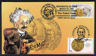 2001 Joint USA & Sweden Nobel Prize 100th - Heritage Einstein DUAL FDC M798