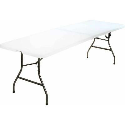 Cosco Office Centerfold Folding Table White 8 Foot Portable Plastic Home Party